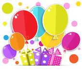 Photo Greeting card with a gift boxes and balloons.  Vector EPS10.