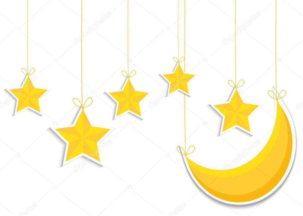 Yellow 3d star and moon isolated in white background. Vector EPS