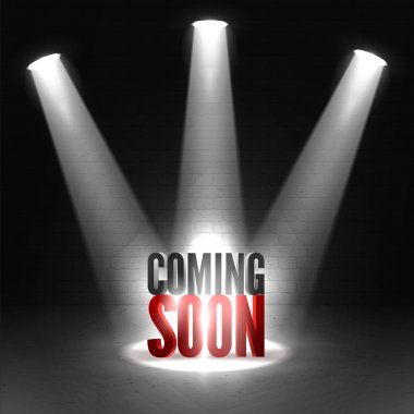 Coming soon in stage spotlight on dark background. Vector scene illuminated spotlight. Spotlight background vector. Coming soon on a show scene spotlight. Spotlight glow effect stage background. stock vector