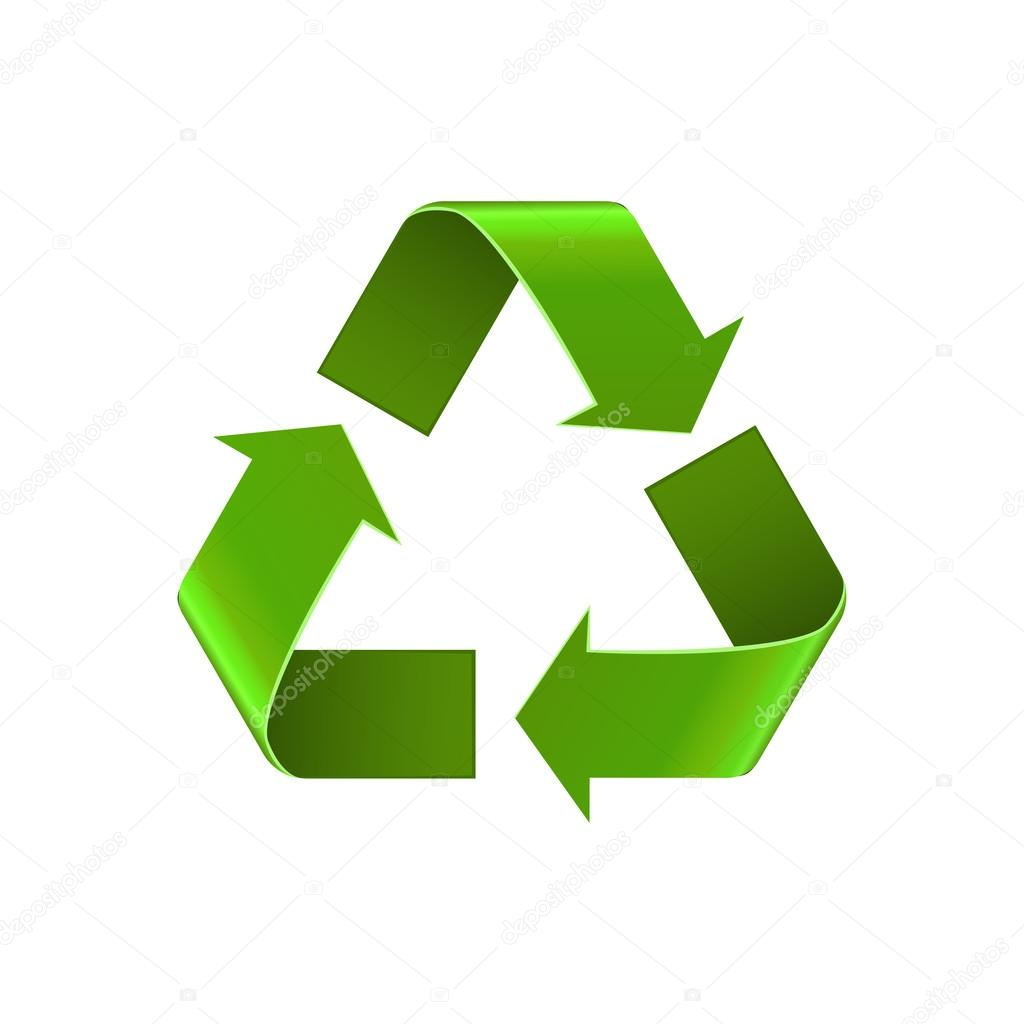 recycle symbol isolated on white green arrows sign vector icon