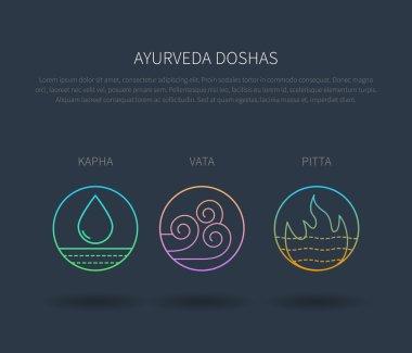 Ayurveda doshas vector thin icons isolated on dark background