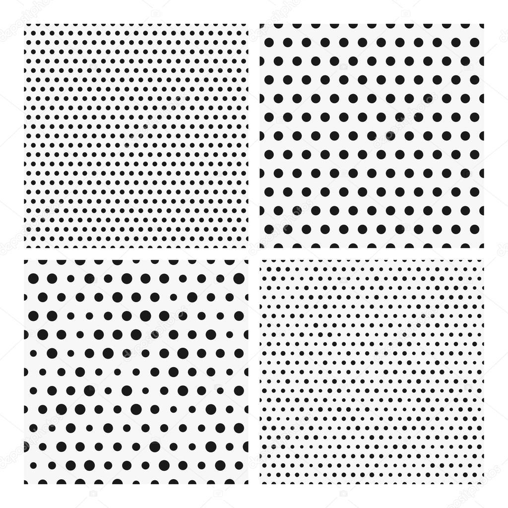 Colección de sin costura patrones repetitivos de puntos negros sobre ...