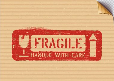 Grunge Fragile sign on cardboard box for logistics or cargo. Means this way up, handle with care. Vector stencil illustration with bent carton corner icon