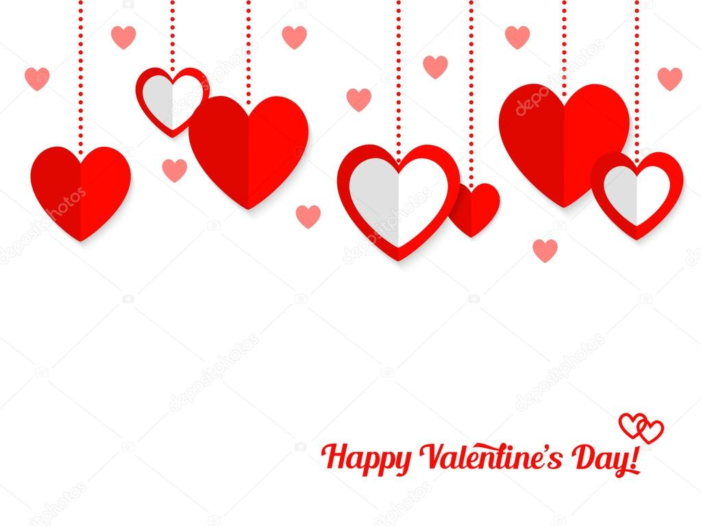 Valentines day background with dangling paper hearts on white background clipart vector
