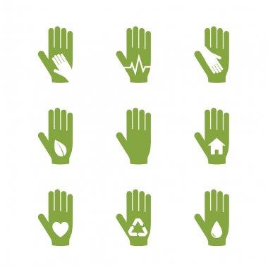 Caring hand logos set
