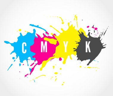 CMYK ink splashes logo