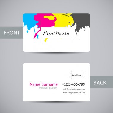 Business card for print house with CMYK ink splashes