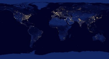 Earth night view from space with city lights.