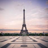 Trocadero and Eiffel Tower at sunshine.