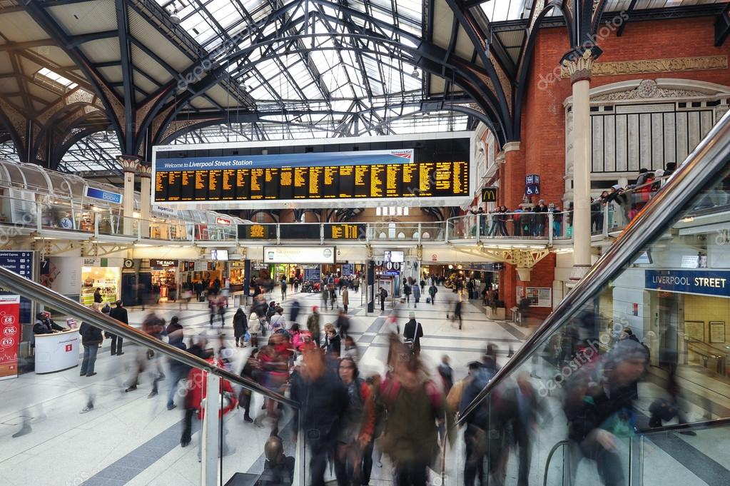 Commuters inside Liverpool Street Station.