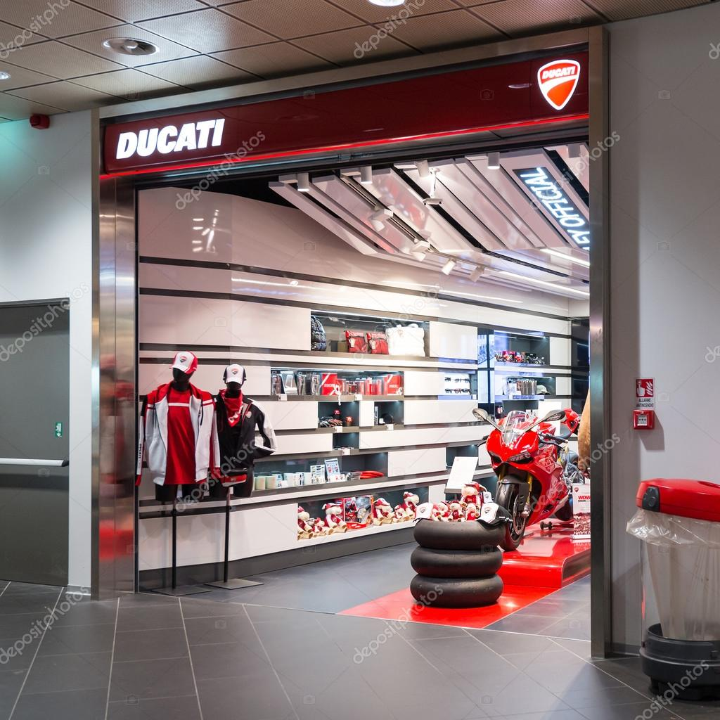 ducati shop in bologna airport stock editorial photo