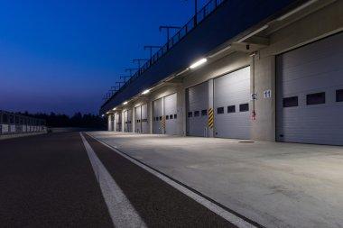Garages in race circuit.