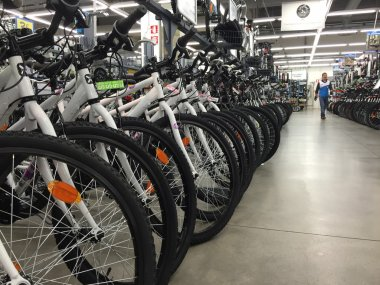 Bicycles inside Decathlon Sport Store
