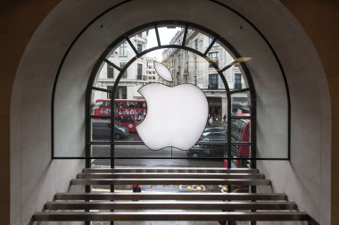 On window of Apple Store