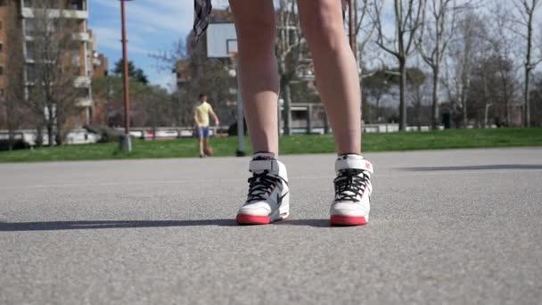 A Woman Playing Basketball Imágenes De Stock A Woman: Woman Playing Basketball Wearing Nike Shoes