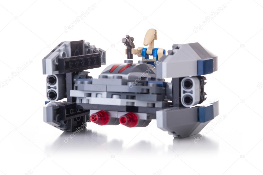 studio shot of a star wars lego clone spaceship from movie series lego is a popular line of construction toys popular with kids and collectors worldwide - Lego Star Wars Vaisseau Clone