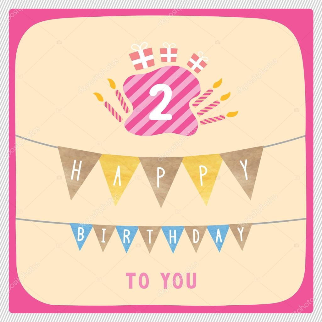 Happy 2nd Birthday Anniversary Card With Gift Boxes And Candles