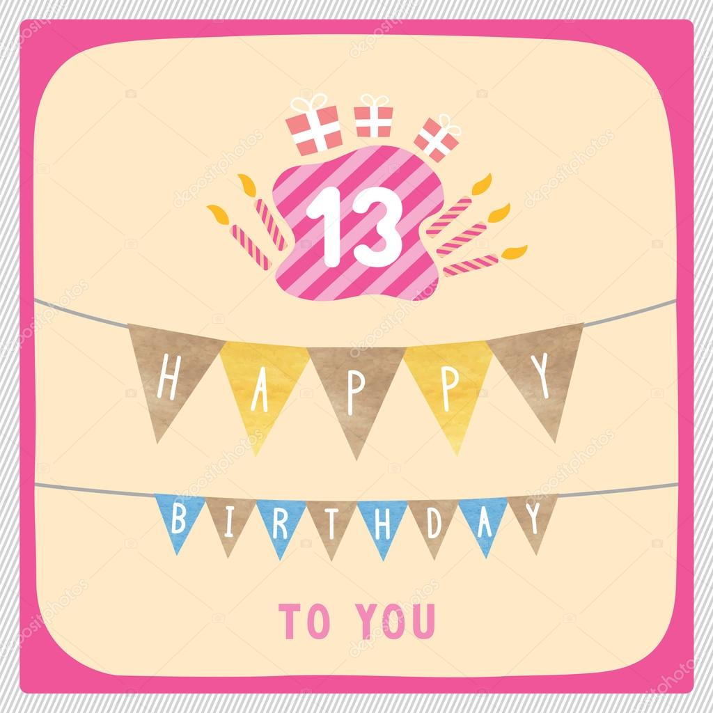 Happy 13th birthday card stock photo gubgibgift 109793352 happy 13th birthday card stock photo bookmarktalkfo Image collections