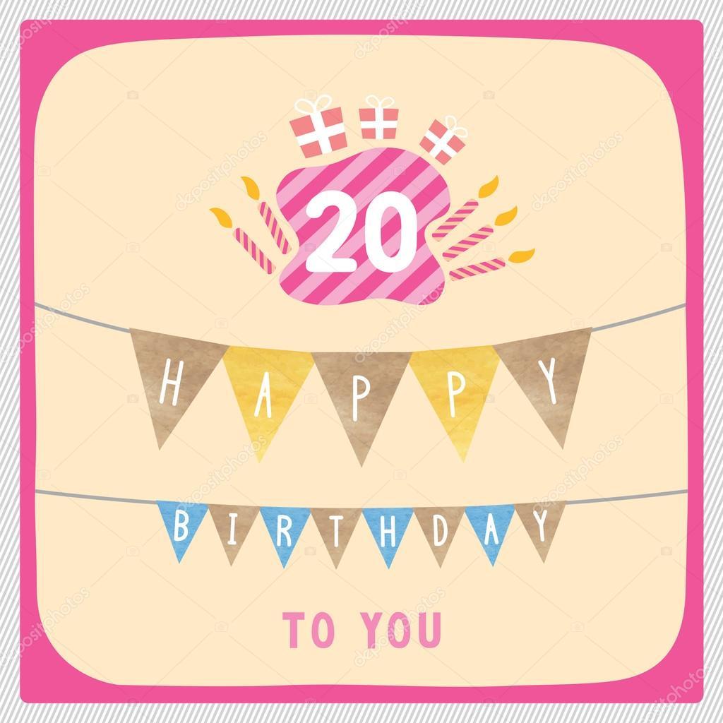 Happy 20th Birthday Card Stock Photo