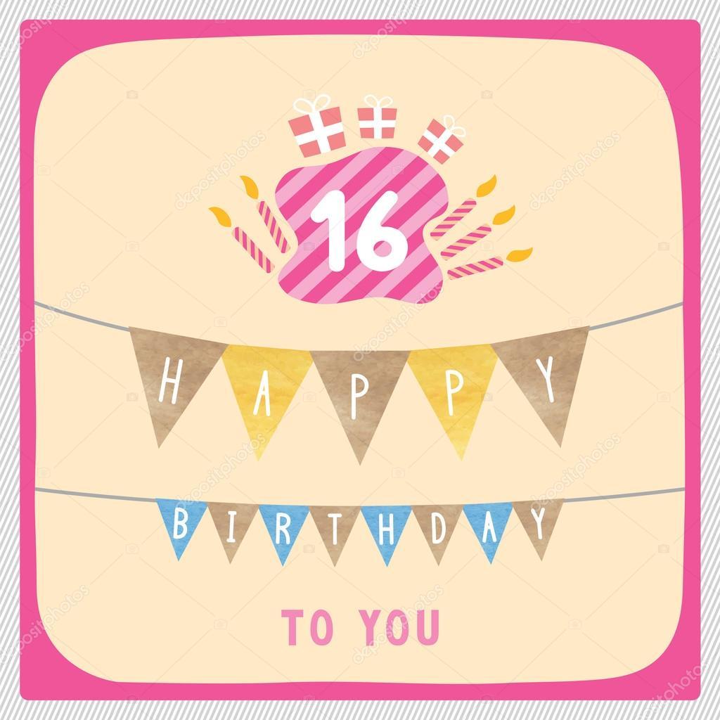 přání k 16 narozeninám Happy 16th birthday card — Stock Photo © gubgibgift #109793910 přání k 16 narozeninám