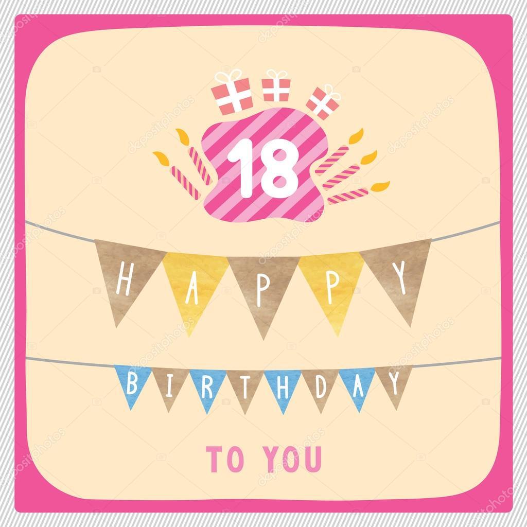 Geburtstagskarte Text 18.Glucklich 18 Geburtstagskarte Stockfoto C Gubgibgift