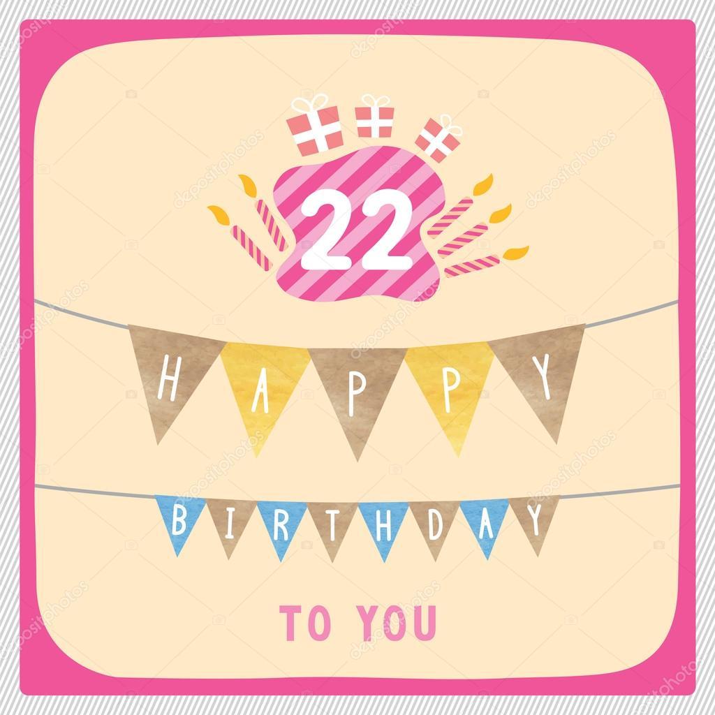 Happy 22nd Birthday Card Stock Photo