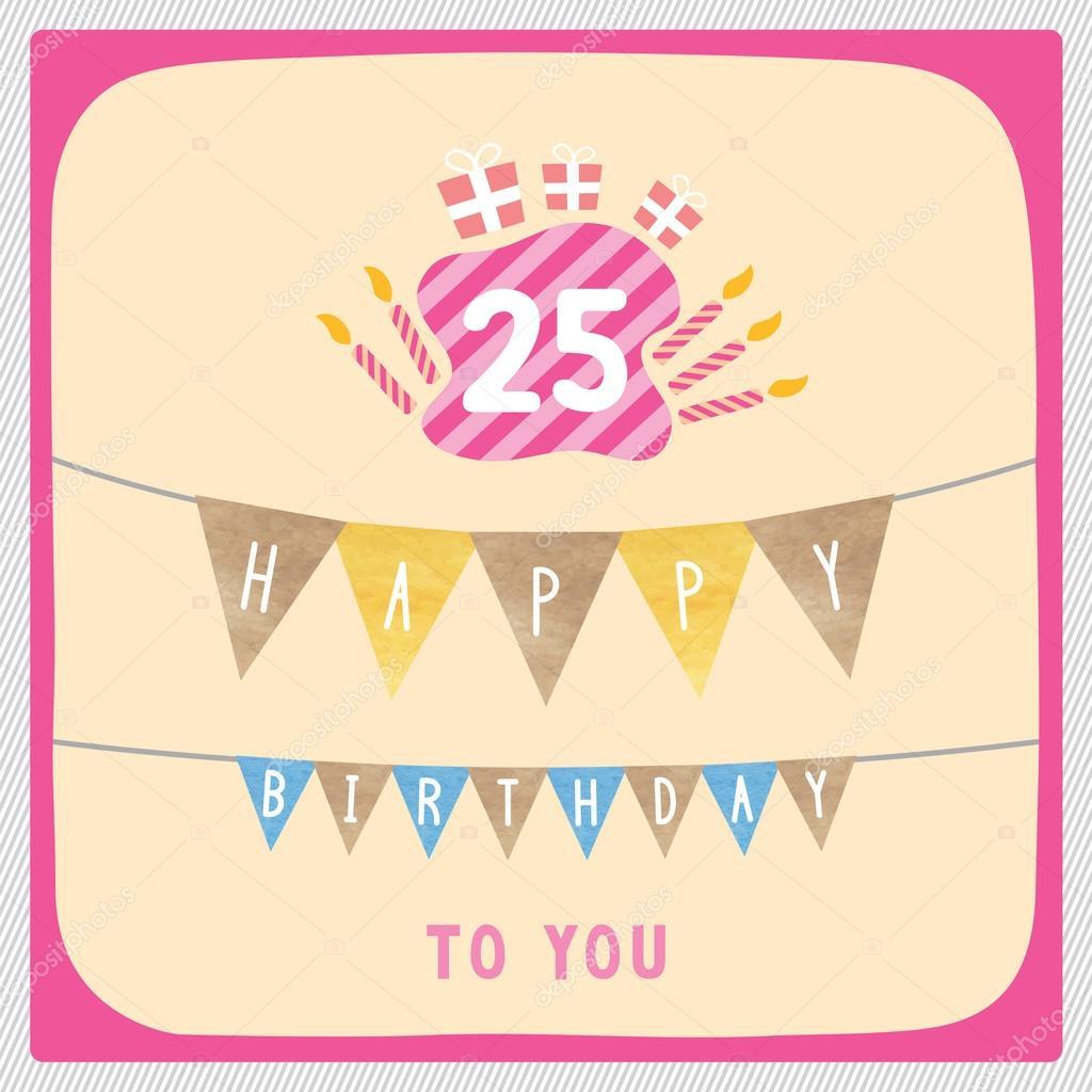 25 születésnap köszöntő Boldog 25 születésnapi üdvözlőlapot — Stock Fotó © gubgibgift  25 születésnap köszöntő