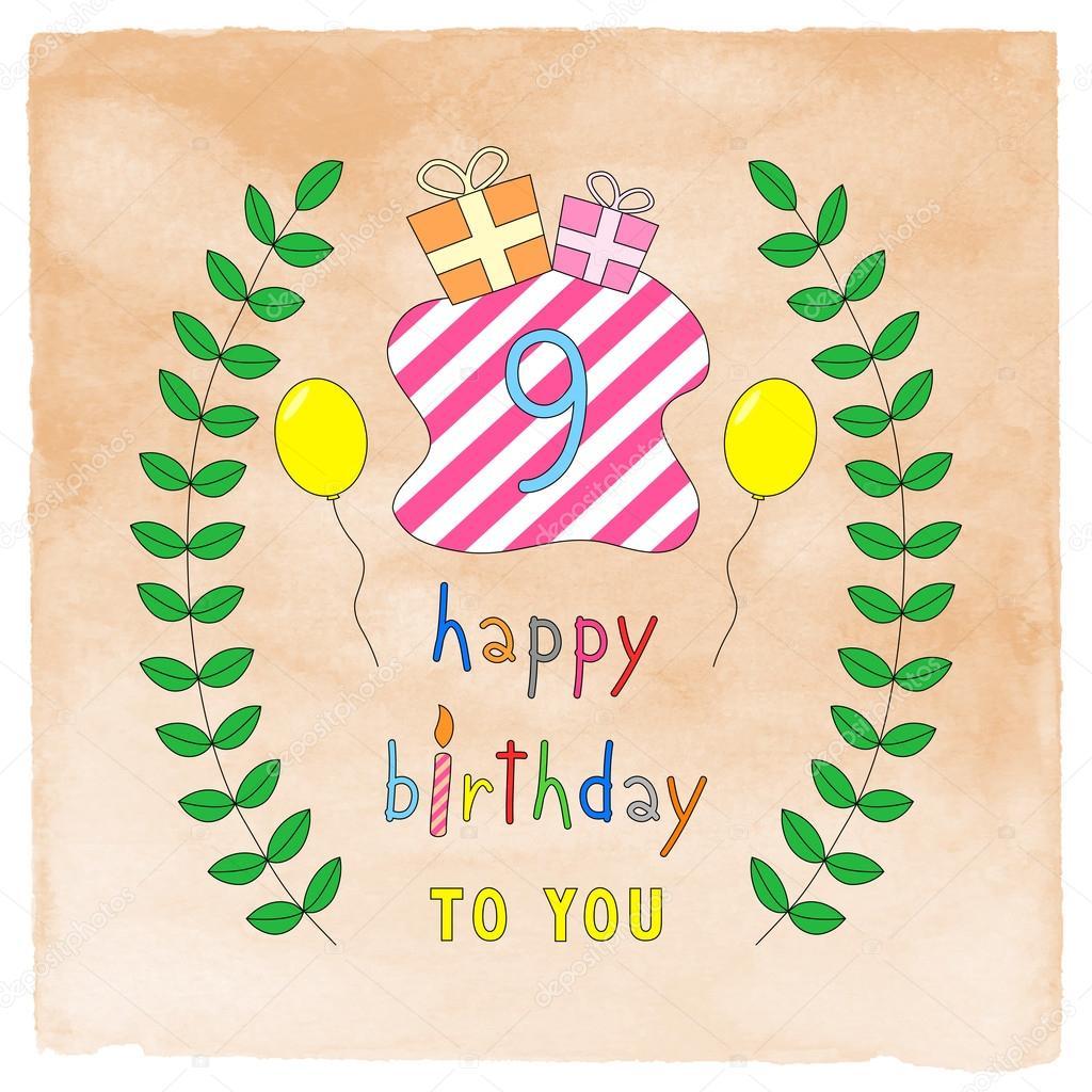 Happy 9th Birthday Card On Orange Watercolor Stock Photo