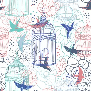 Birdcages seamless pattern