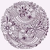 Kulatý květinový vzor s ptáky. Vektorové pozadí