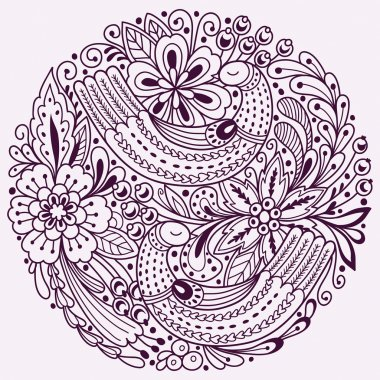 Round floral pattern with birds. Vector background