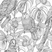 Papoušci a tropické květiny. Vektorové bezešvé vzor