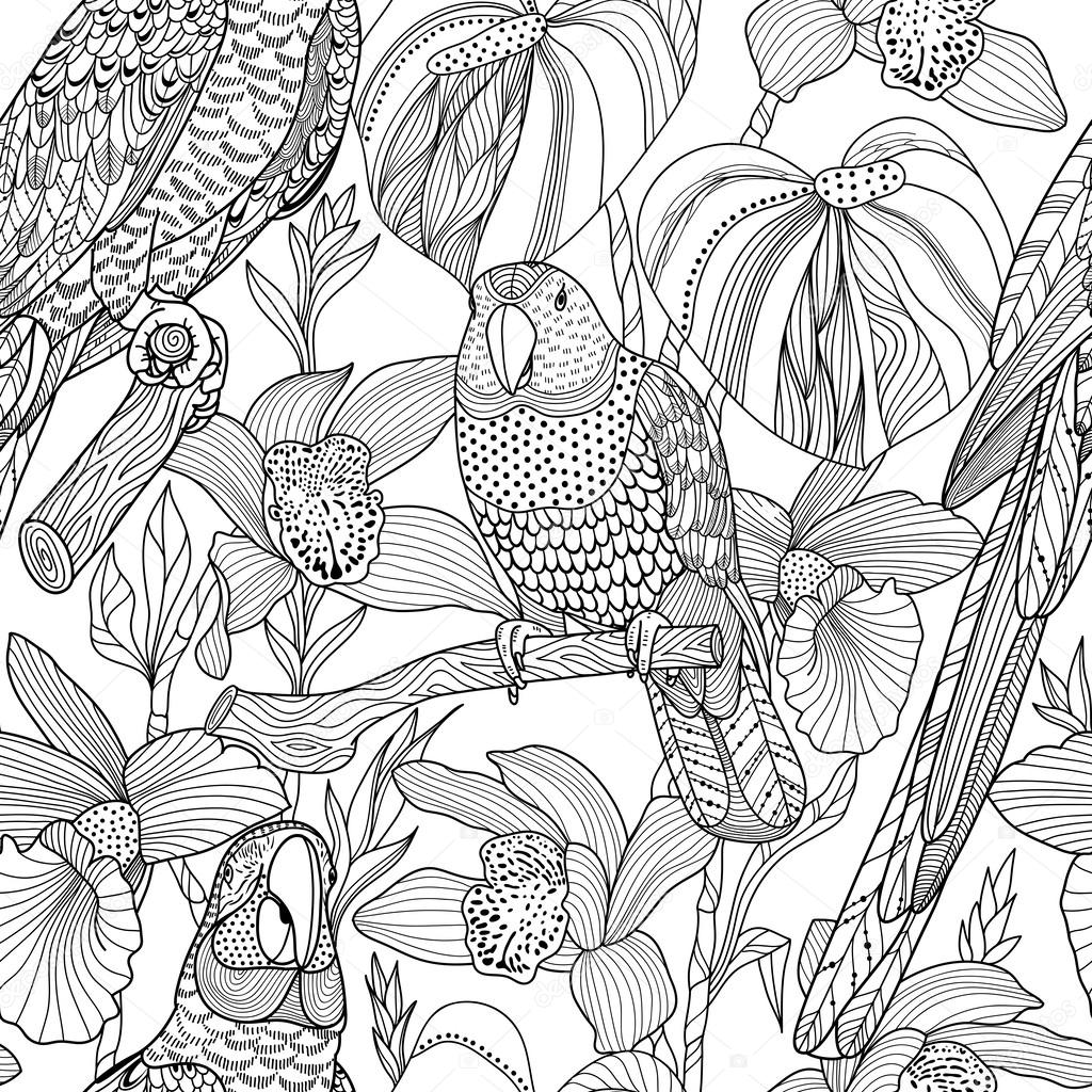 parrots and tropical flowers vector seamless pattern u2014 stock