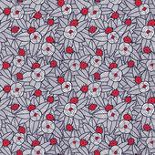 Virágok és katicabogarak zökkenőmentes minta