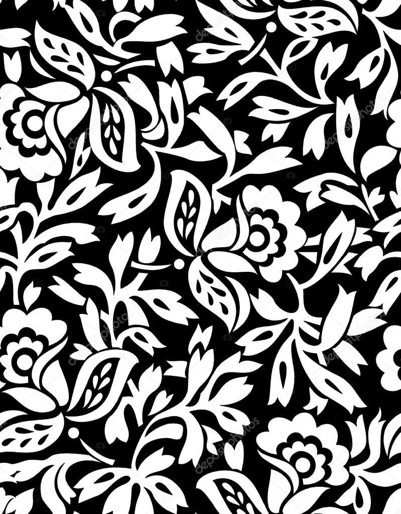 Papier Peint Fleur Noir Et Blanc Sans Couture Image Vectorielle