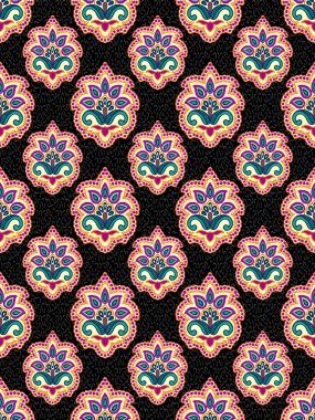 paisley flower seamless motif vector with textures