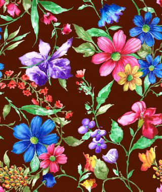 Seamless watercolor pattern, flora tropical flowers