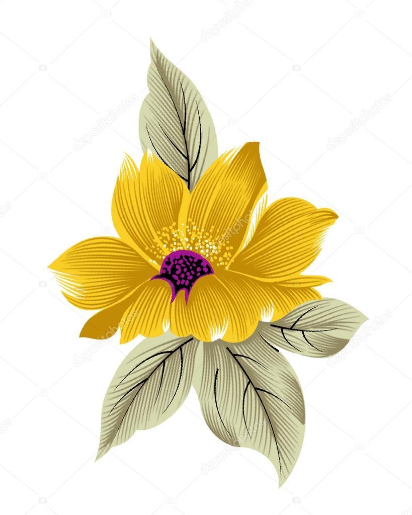 Yapay Renk Artwrok Tek çiçek Stok Vektör Devmanoj8729 88195466