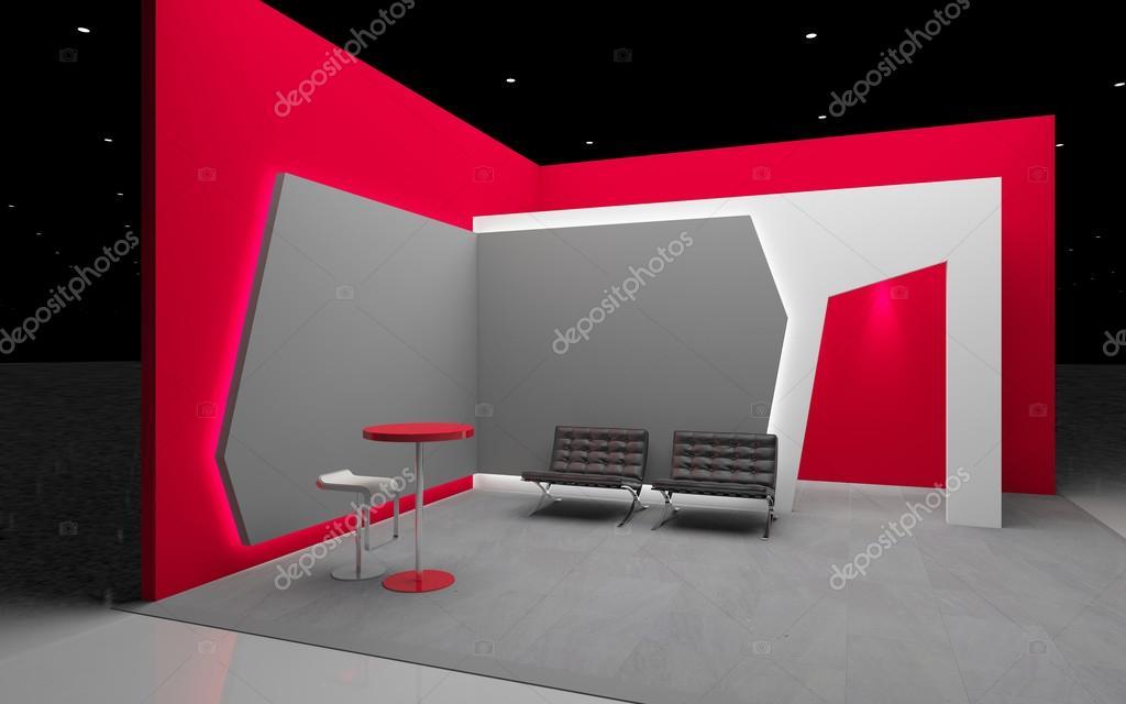 D Rendering Exhibition : Red exhibition stand d rendering — stock photo krooogle