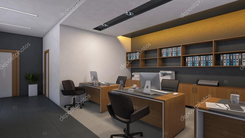 Pareti Ufficio Design : Ufficio design con parete in legno u foto stock krooogle