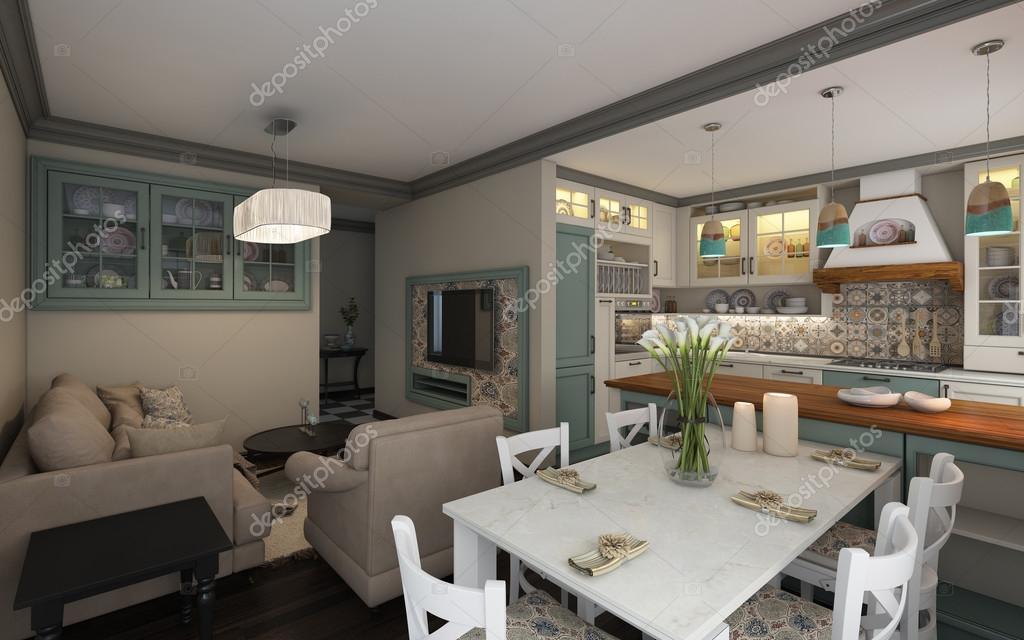 Mediterrán konyha, kis lakásban — Stock Fotó © krooogle #107493960