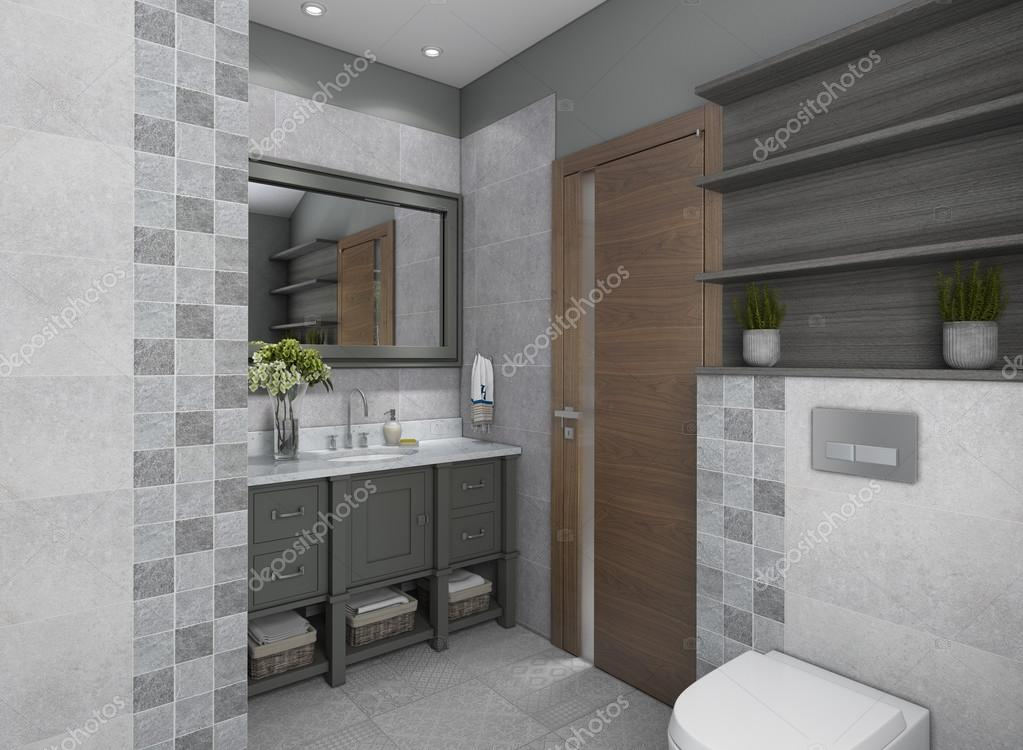 Mooie Moderne Badkamers : Mooi en grijze moderne badkamer u2014 stockfoto © krooogle #110895144