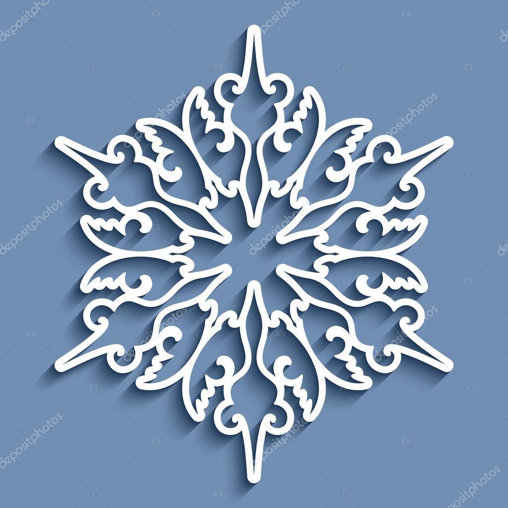 Paper Lace Kleedje Ronde Haak Ornament Stockvector Magenta10