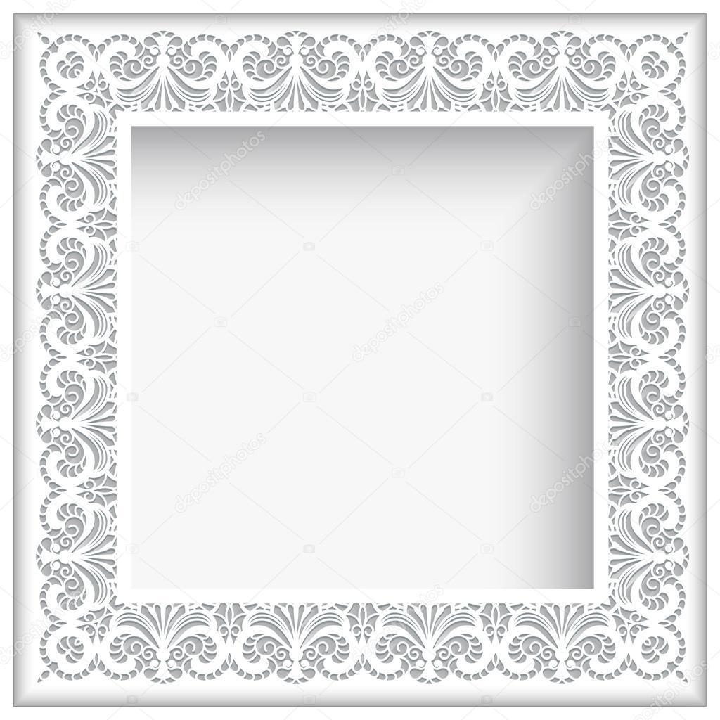 Marco de encaje de papel blanco cuadrado — Archivo Imágenes ...