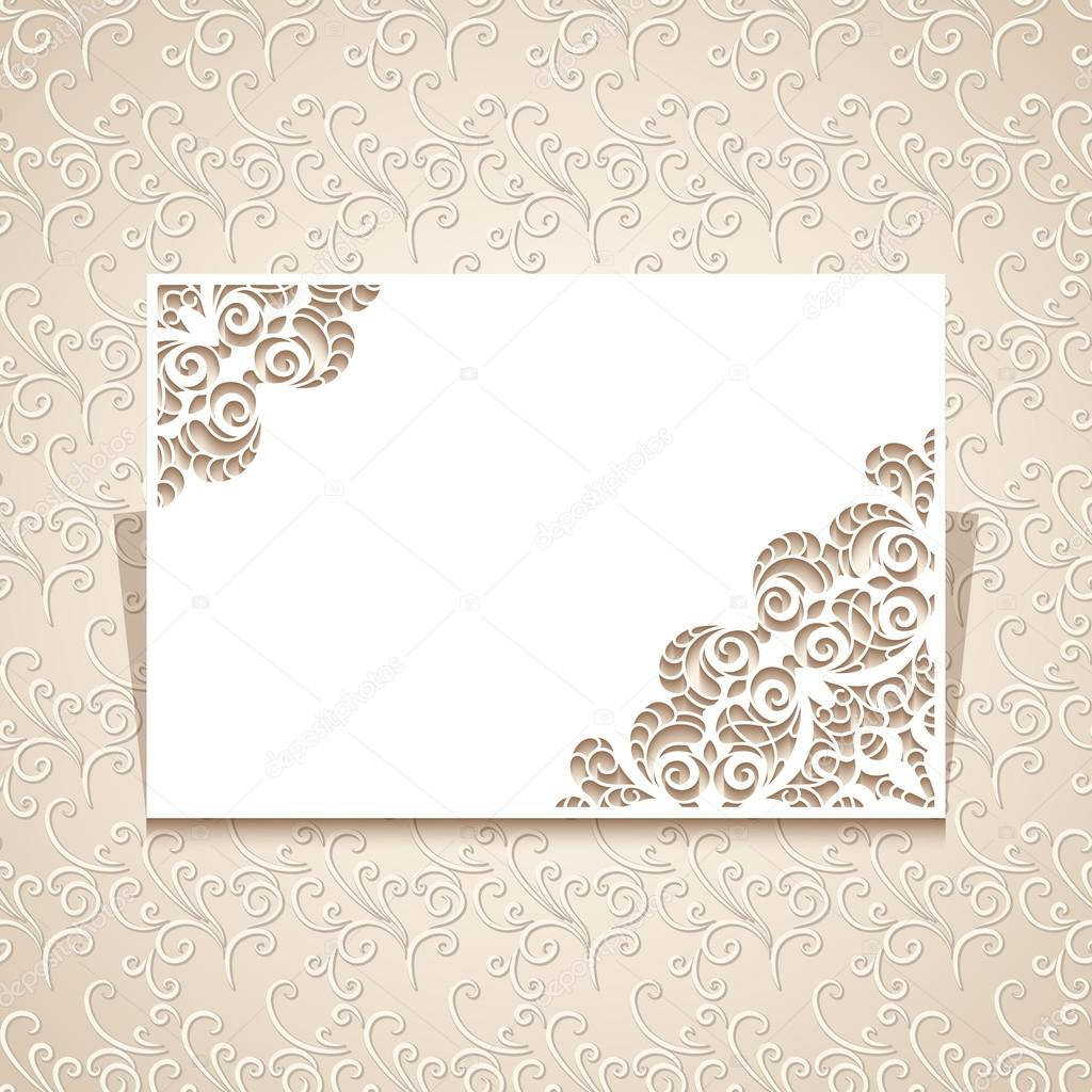 Invitation Card Template With Lace Corners Stock Vector