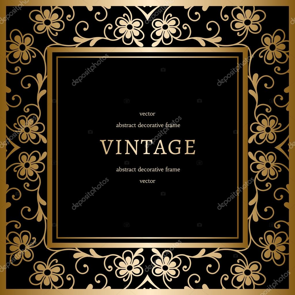 square gold frame on black stock vector 57083199