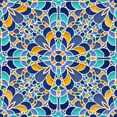Abstract mosaic background, ceramic tiles, majolica, seamless pattern clip art vector