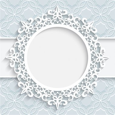 Paper frame with ornamental lace border,  round vignette, lacy label on white background stock vector