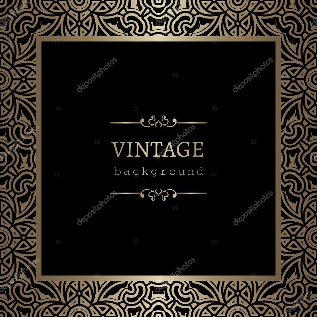 quadratische Goldrahmen auf schwarz — Stockvektor © magenta10 #73501321