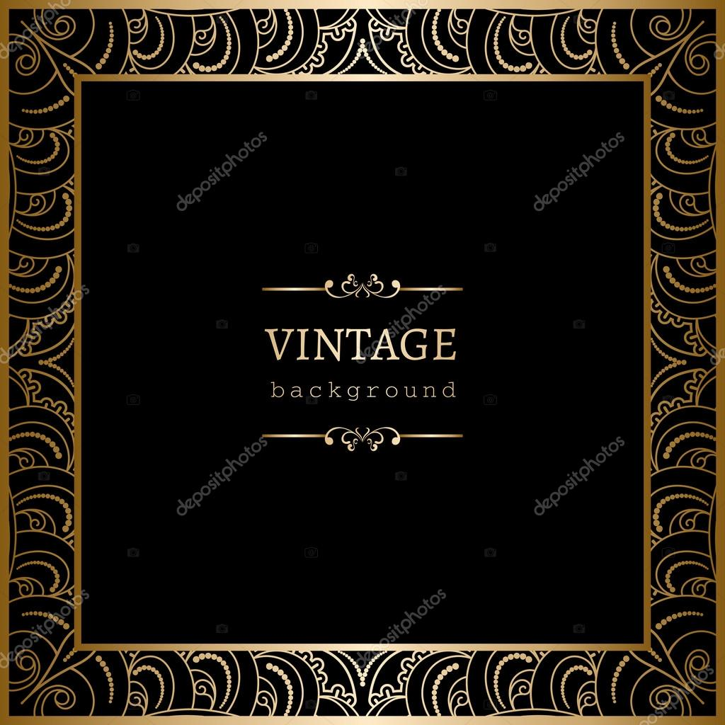 square gold frame on black stock vector 78948670